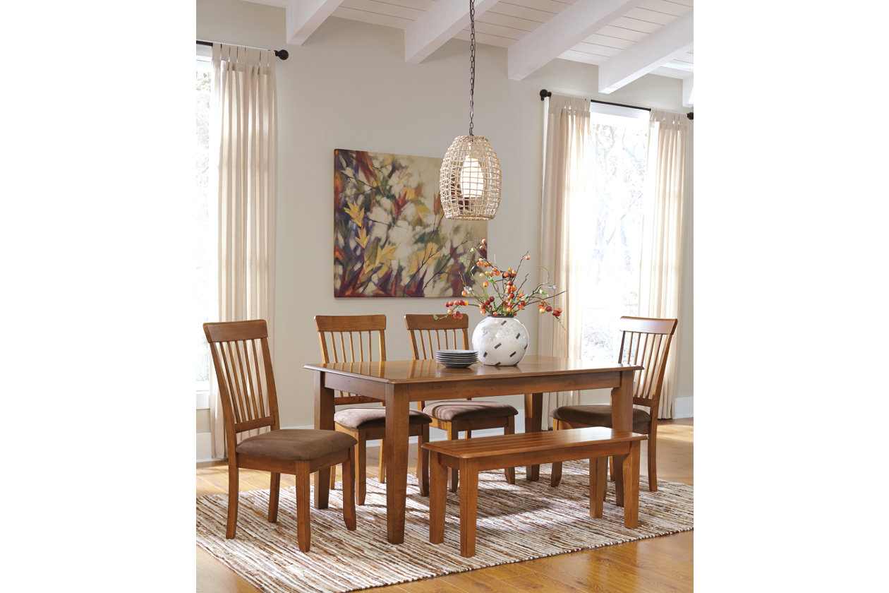 berringer rectangular dining room table 4 chairs u0026 benchashley