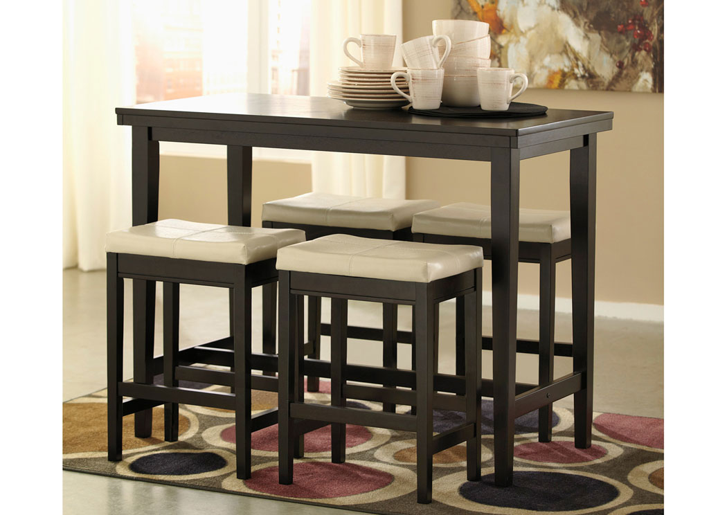 Kimonte Rectangular Counter Height Table w/ 4 Ivory Barstools,ABF Signature Design by Ashley