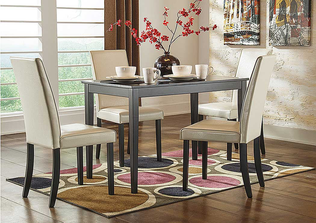 Kimonte Rectangular Dining Table w/ 4 Ivory Chairs,ABF Signature Design by Ashley