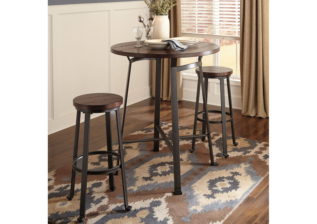 Challiman Rustic Brown Round Dining Room Bar Table W 2 Tall Stools