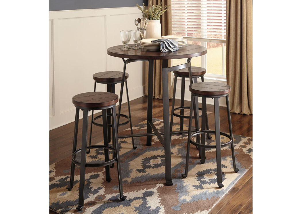 Challiman Rustic Brown Round Dining Room Bar Table w/4 Tall Stools,Signature Design By Ashley