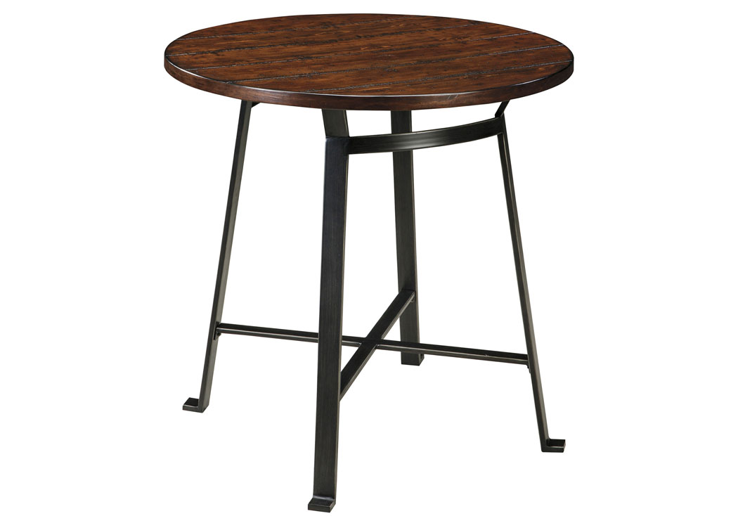 Challiman Rustic Brown Round Bar Table,48 Hour Quick Ship