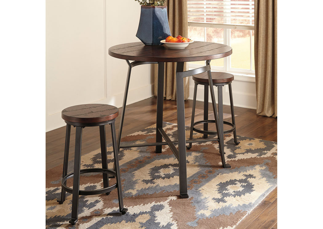 Challiman Rustic Brown Round Counter Table w/2 Stools,Signature Design By Ashley