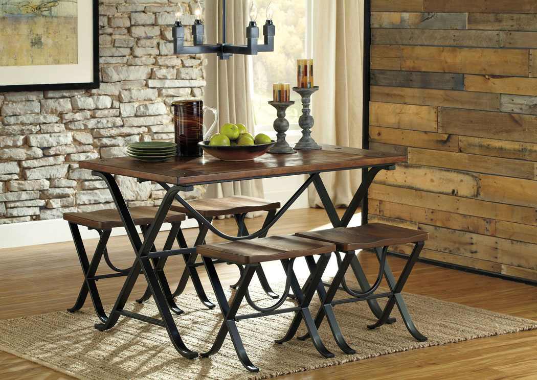 Great Freimore Rectangular Dining Table W/4 Stools,Signature Design By Ashley