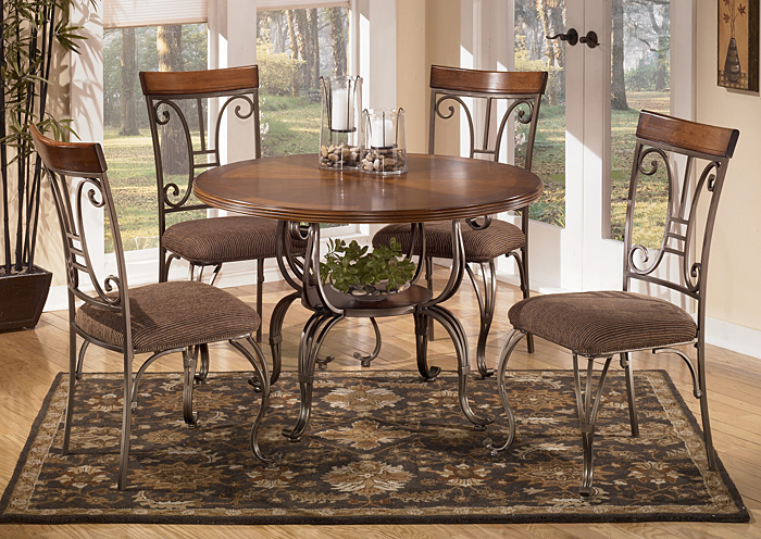 Plentywood Round Dining Table w/4 Side Chairs,Signature Design by Ashley