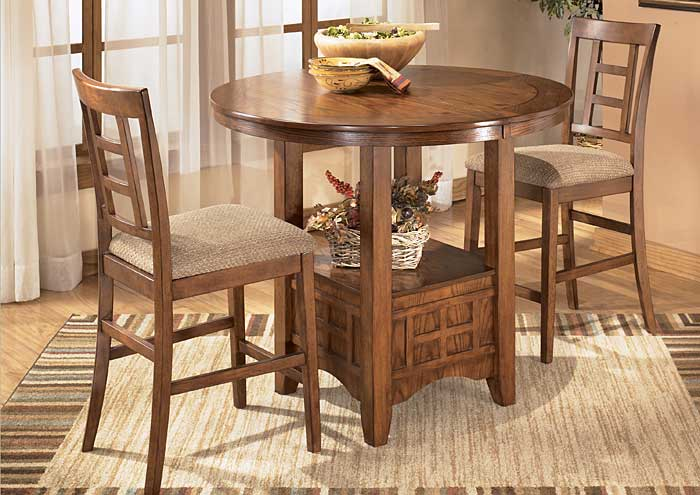 Cross Island Counter Height Extention Table Dining Set w/2 Stools,Ashley