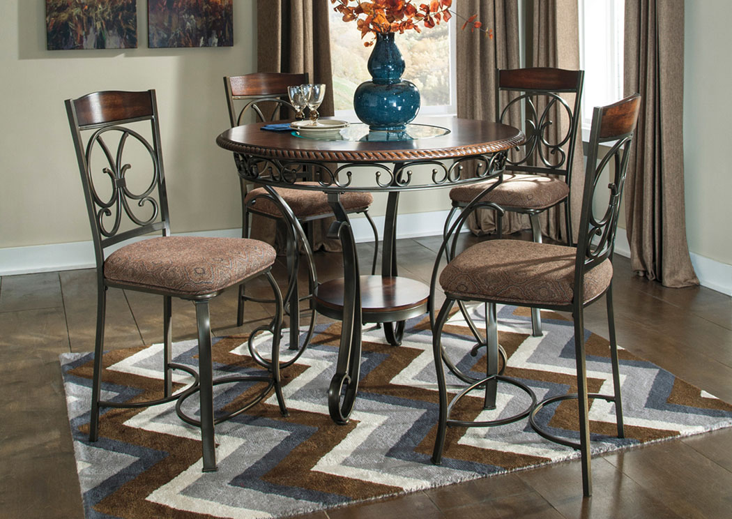 curly 39 s furniture glambrey round counter height table w 4 barstools. Black Bedroom Furniture Sets. Home Design Ideas
