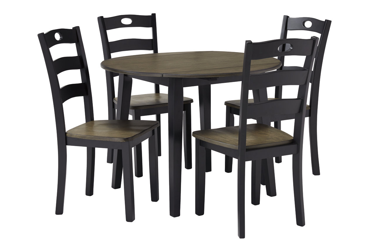 Froshburg Grayish Brown/Black Round Drop Leaf Table w/4 Side Chairs,Signature Design By Ashley