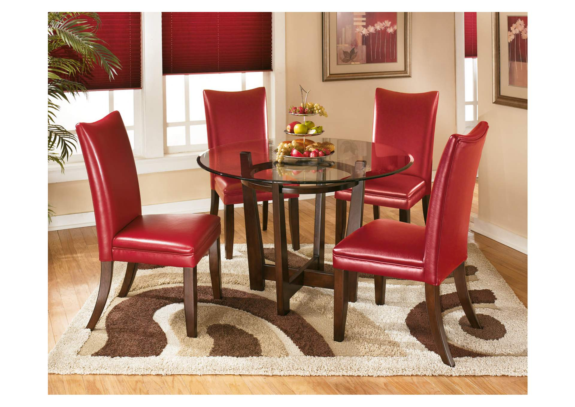 Beautiful Charell Round Dining Table W/4 Red Side Chairs