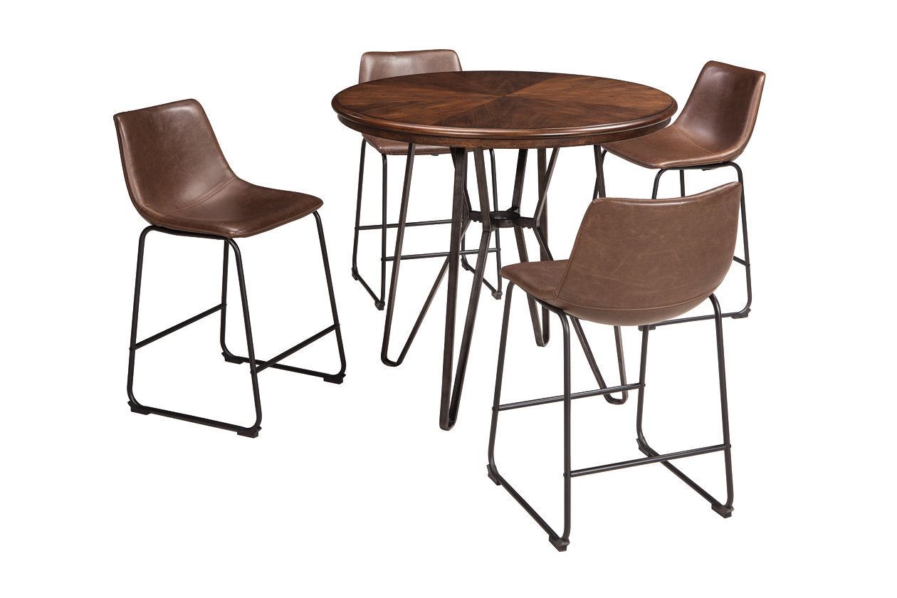 Centiar Two-Tone Brown Round Dining Room Counter Table w/4 Upholstered Barstools,Signature Design by Ashley