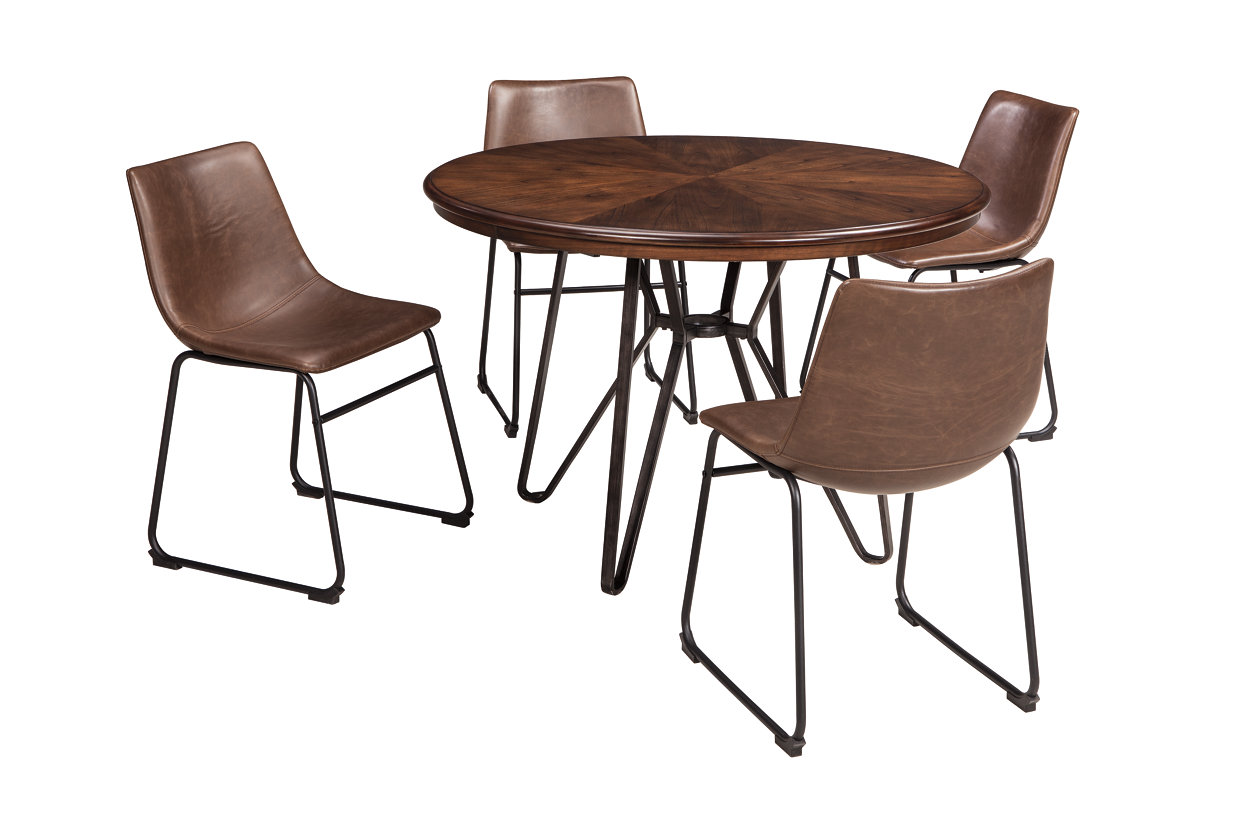 Centiar Two Tone Brown Round Dining Room Table W/4 Upholstered Side Chairs,