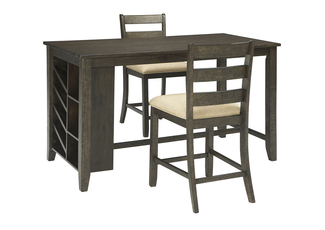Rokane Brown Rectangular Counter Table w/Storage & 2 Upholstered Barstools,Signature Design By Ashley