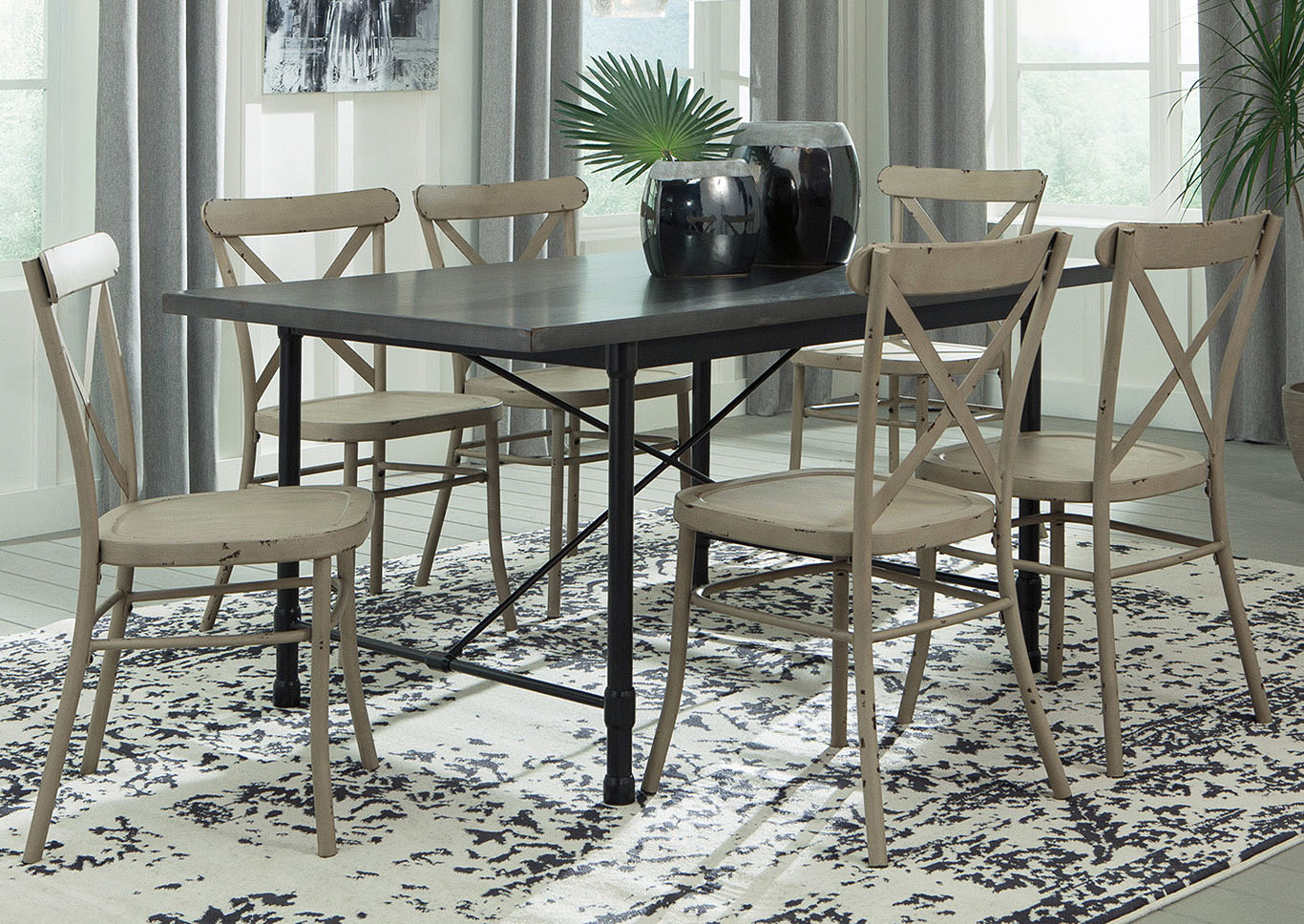 Minnona Aged Steel Rectangular Dining Table W/6 Antique White Side Chairs,Signature  Design