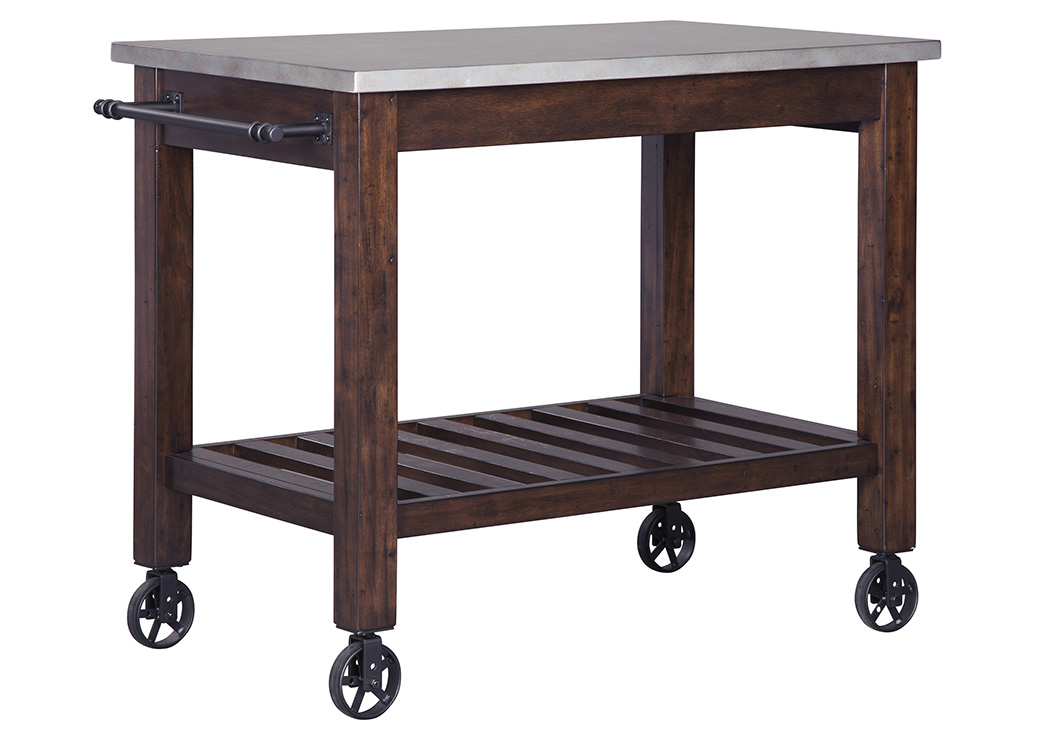 Larchmont Burnished Dark Brown Kitchen Cart,Signature Design By Ashley
