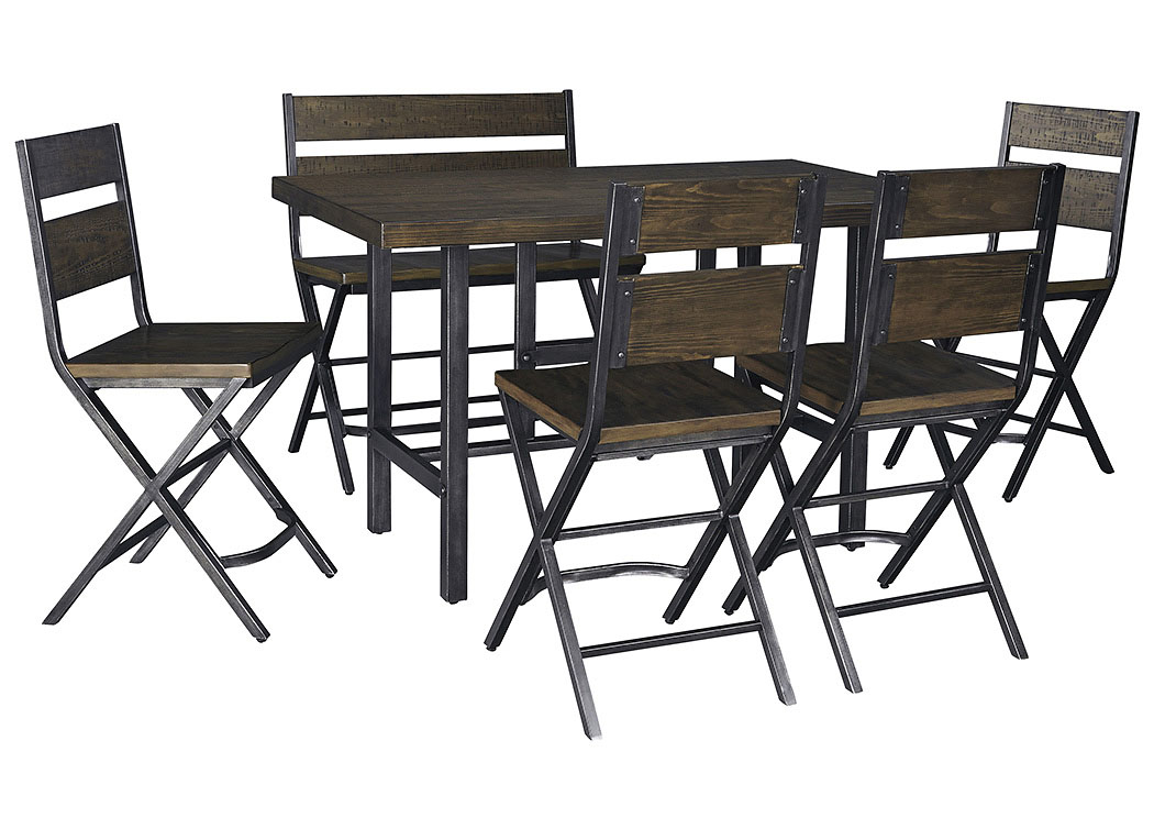 Kavara Medium Brown Rectangular Dining Room Counter Table w/4 Side Chairs and Double Barstool,Signature Design by Ashley