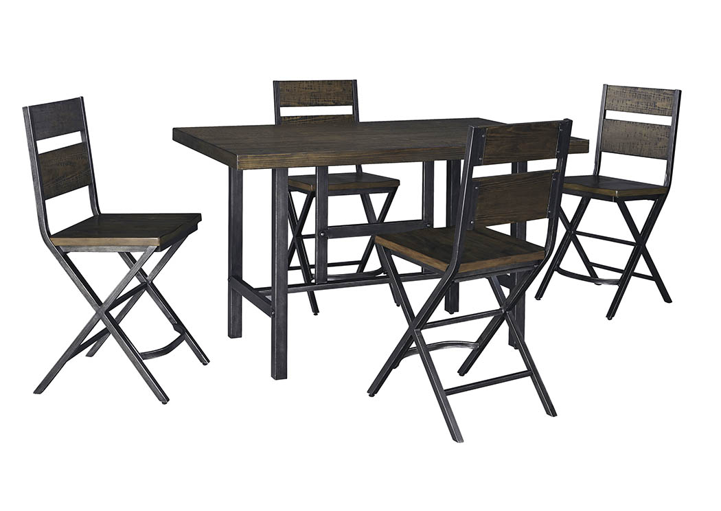Alabama Furniture Market Kavara Medium Brown Rectangular Dining Room Counter Table W 4 Stools