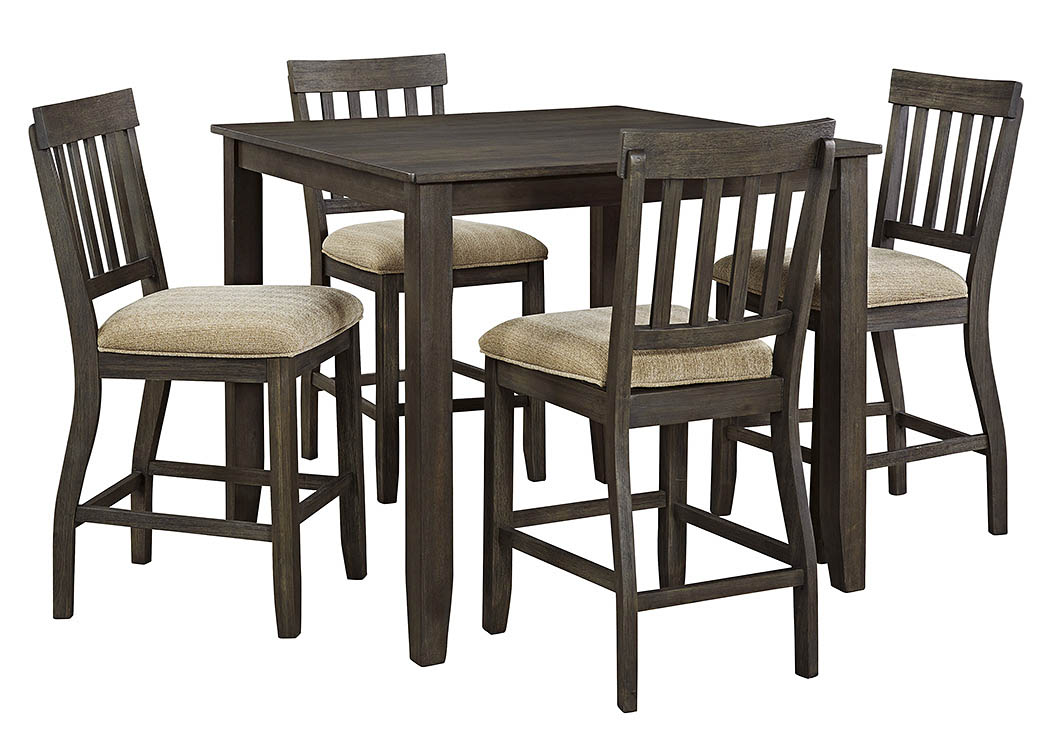 Dresbar Grayish Brown Square Dining Room Counter Table w/4 Upholstered Barstools,Signature Design By Ashley