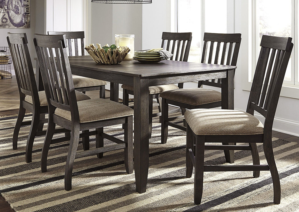Dresbar Grayish Brown Rectangular Dining Room Table W/6 Side Chairs,Signature  Design By