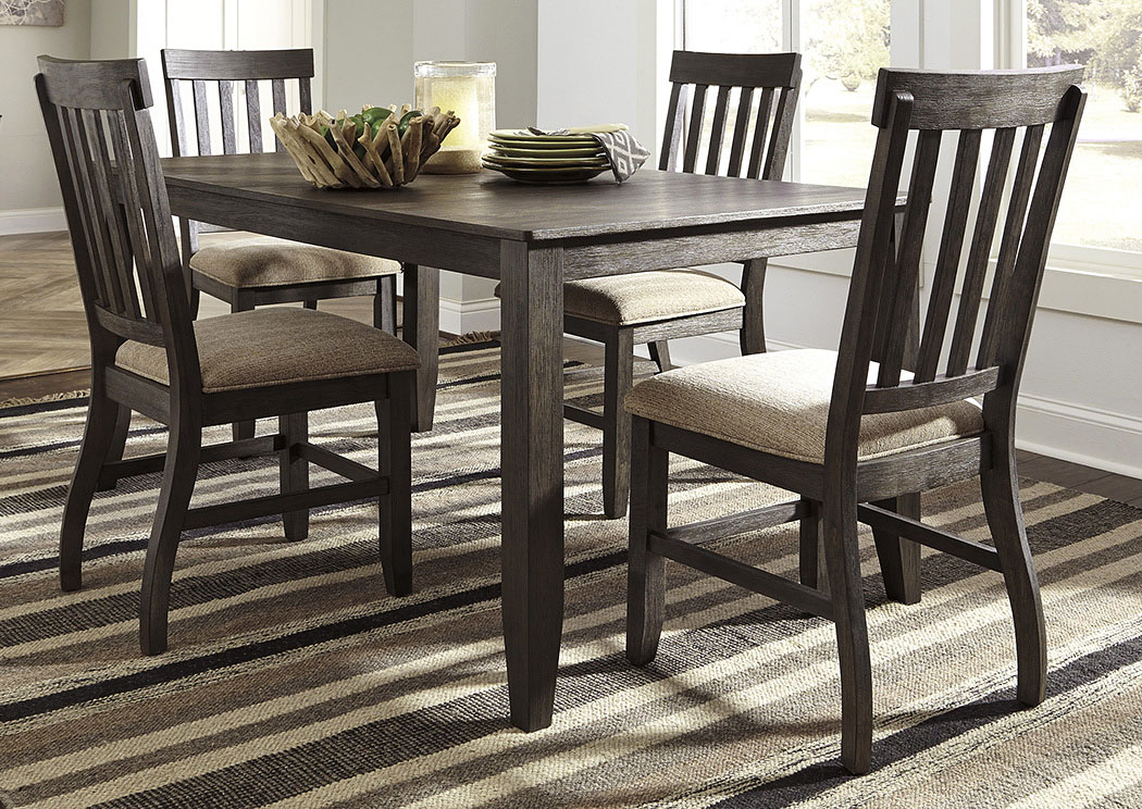 Dresbar Grayish Brown Rectangular Dining Room Table w/4 Side Chairs,ABF Signature Design by Ashley