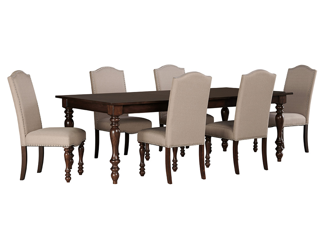 Baxenburg Brown Rectangular Dining Room Extension Table w/6 Upholstered Side Chairs,Signature Design by Ashley