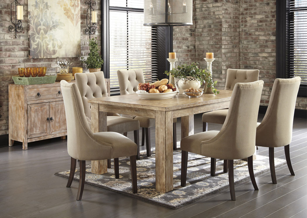 Mestler Washed Brown Rectangular Dining Table w/6 Light Brown Upholstered Side Chairs,Signature Design by Ashley