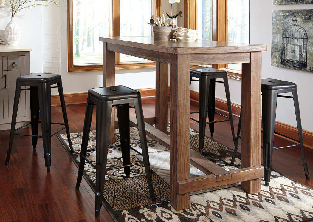 Pinnadel Bar Table w/4 Gray Tall Stools,Signature Design By Ashley