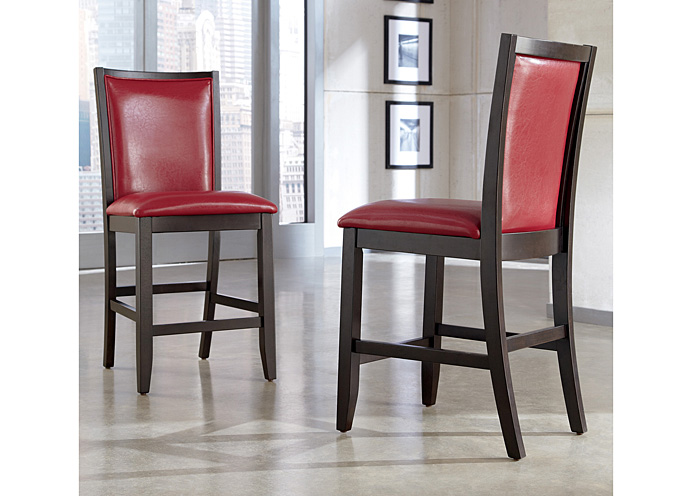 Trishelle Red Upholstered Barstool (Set of 2),Ashley