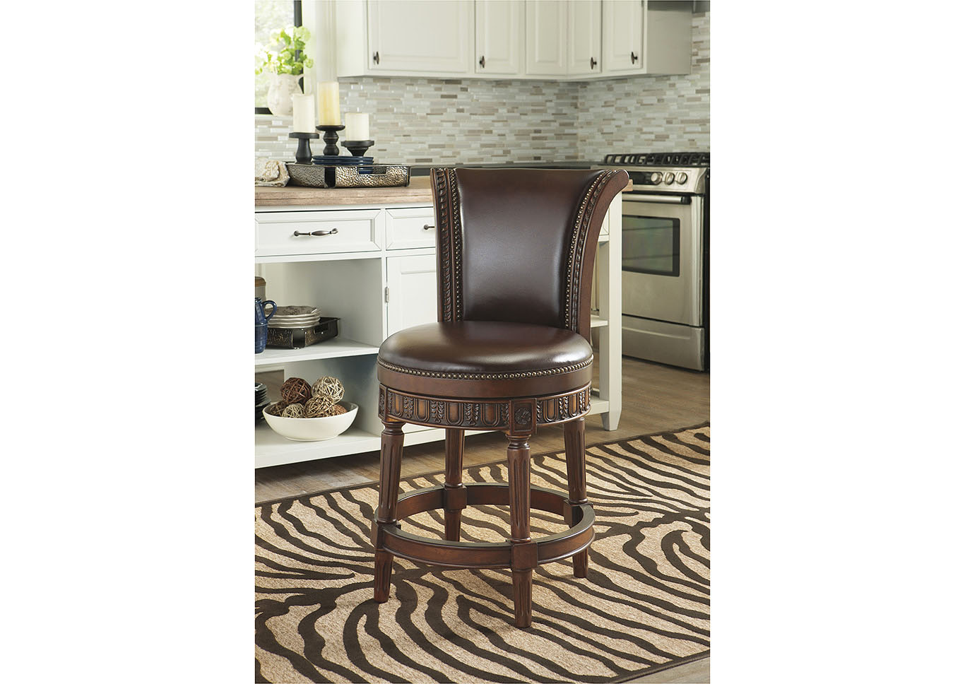 North Shore Dark Brown Upholstered Swivel Barstool,Millennium