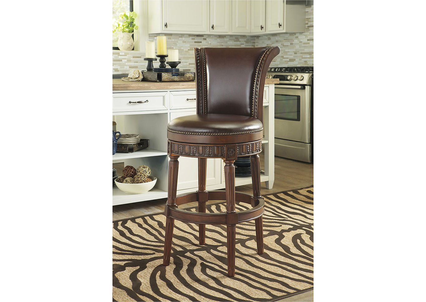 North Shore Dark Brown Tall Upholstered Swivel Barstool,Millennium