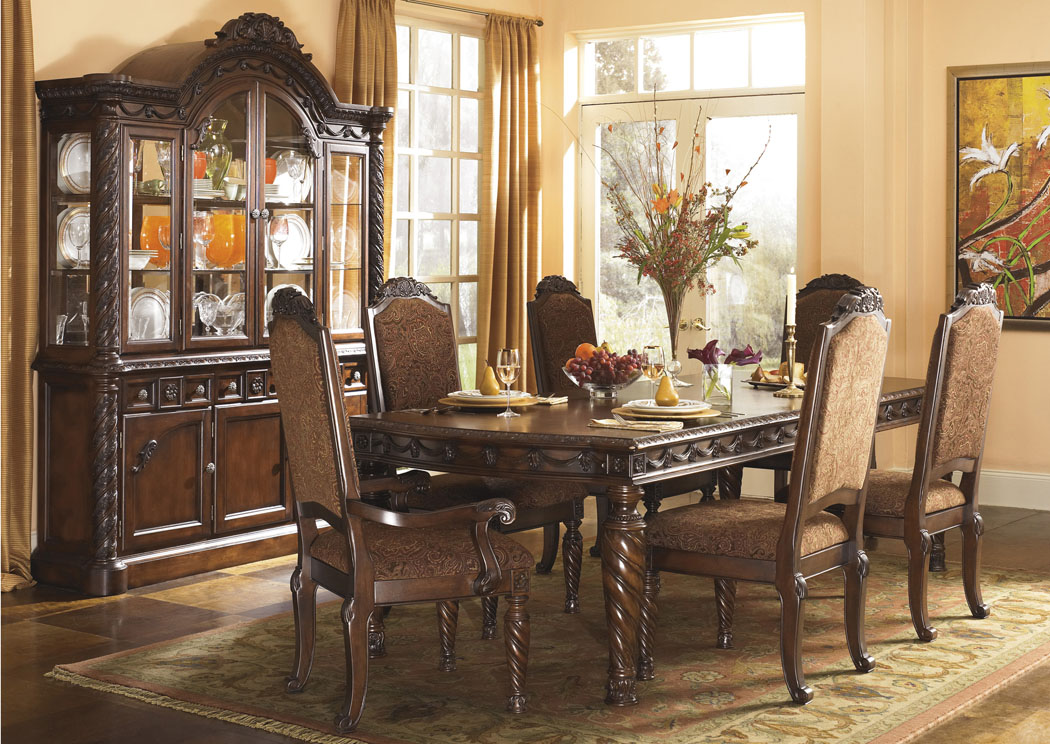 North Shore Extension Table w/4 Upholstered Side Chairs, 2 Arm Chairs, Buffet & China,Millennium