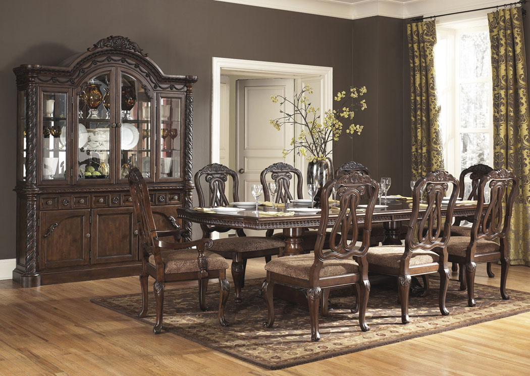 North Shore Rectangular Pedestal Table w/4 Side Chairs, 2 Arm Chairs, Buffet & China,Millennium
