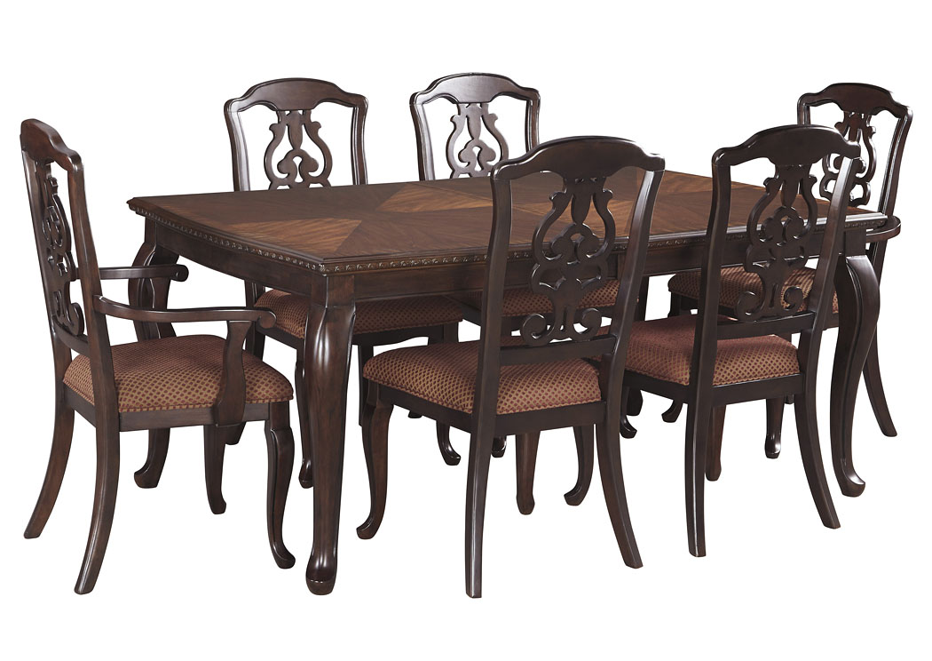 Gladdenville Brown Rectangular Dining Room Extension Table w/2 Arm Chairs & 4 Side Chairs,Signature Design By Ashley