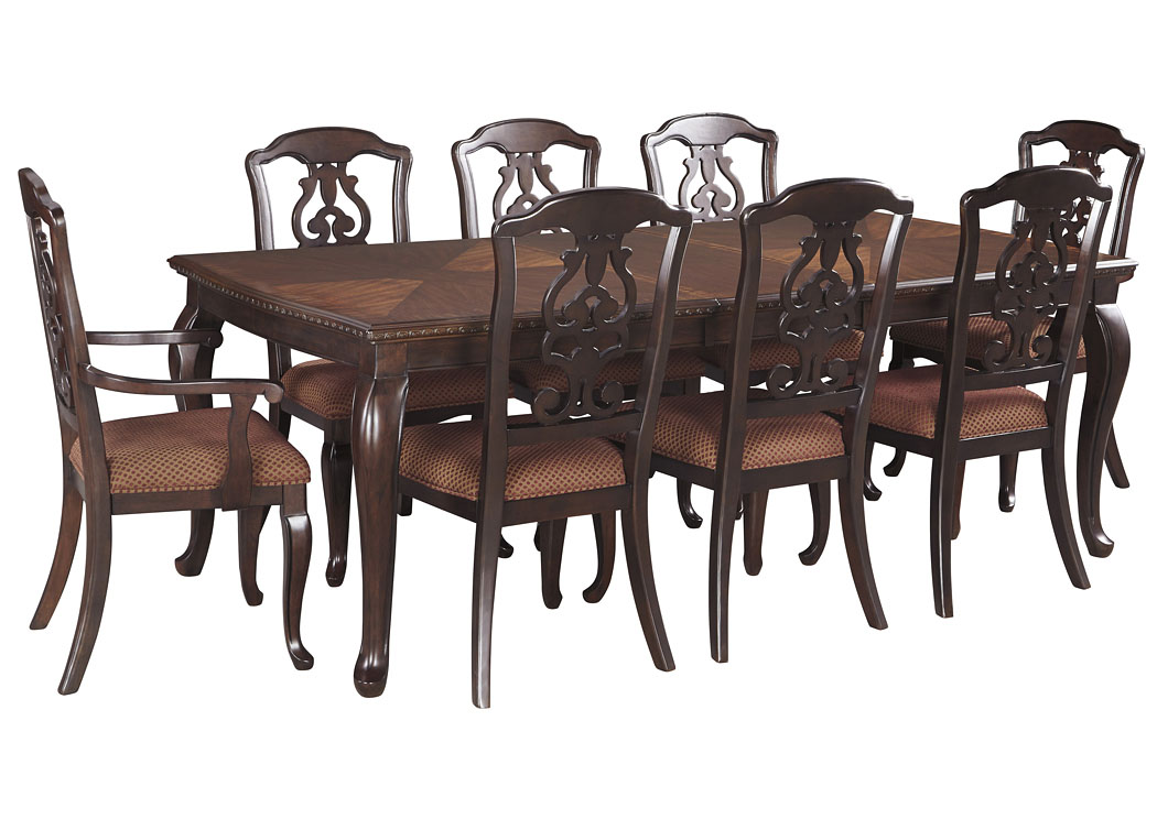 Gladdenville Brown Rectangular Dining Room Extension Table w/2 Arm Chairs & 6 Side Chairs,Signature Design By Ashley