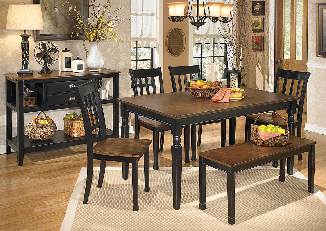 owingsville rectangular dining table w4 side chairs benchsignature design by ashley - Dining Room Table With Chairs And Bench