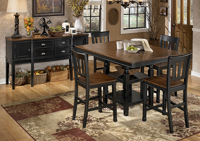 Owingsville Square Counter Extension Table w/4 Barstools,Signature Design by Ashley