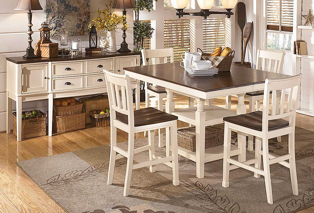 HD wallpapers whitesburg 7 piece rectangular extension dining table set in brown white