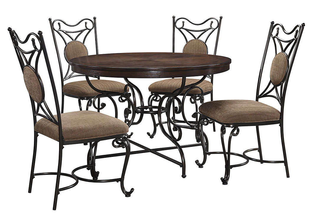 Brulind Brown Round Dining Room Table w/4 Side Chairs,Signature Design by Ashley