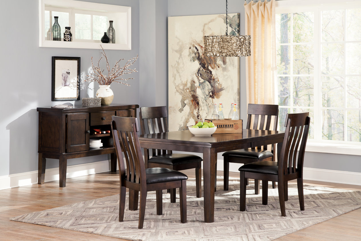 Haddigan Dark Brown Rectangle Dining Room Extension Table W 4 Upholstered Side Chairs Server