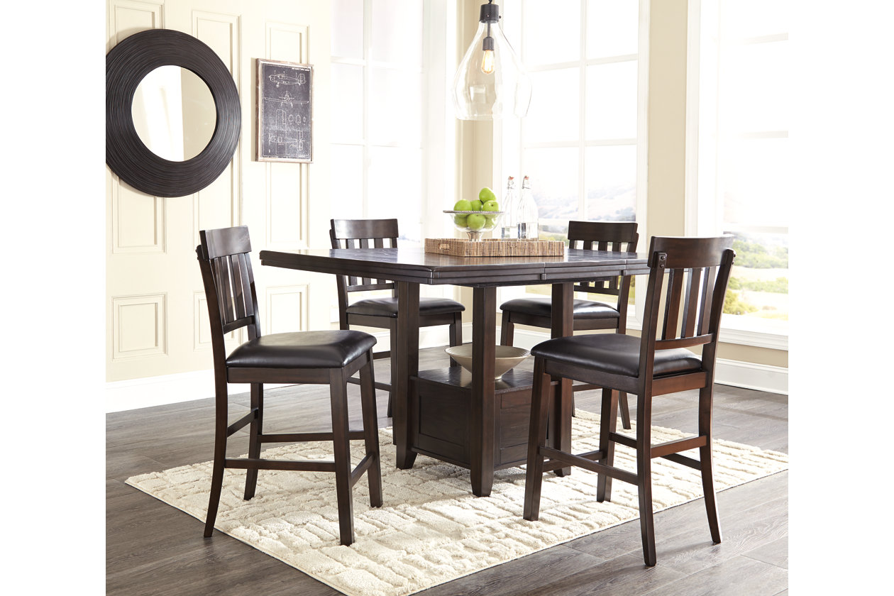 Haddigan Dark Brown Rectangular Counter Height Table w/4 Stools,Signature Design By Ashley