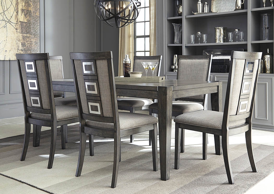 Chadoni Gray Rectangular Dining Room Extension Table w/6 Upholstered Side Chairs,Signature Design by Ashley