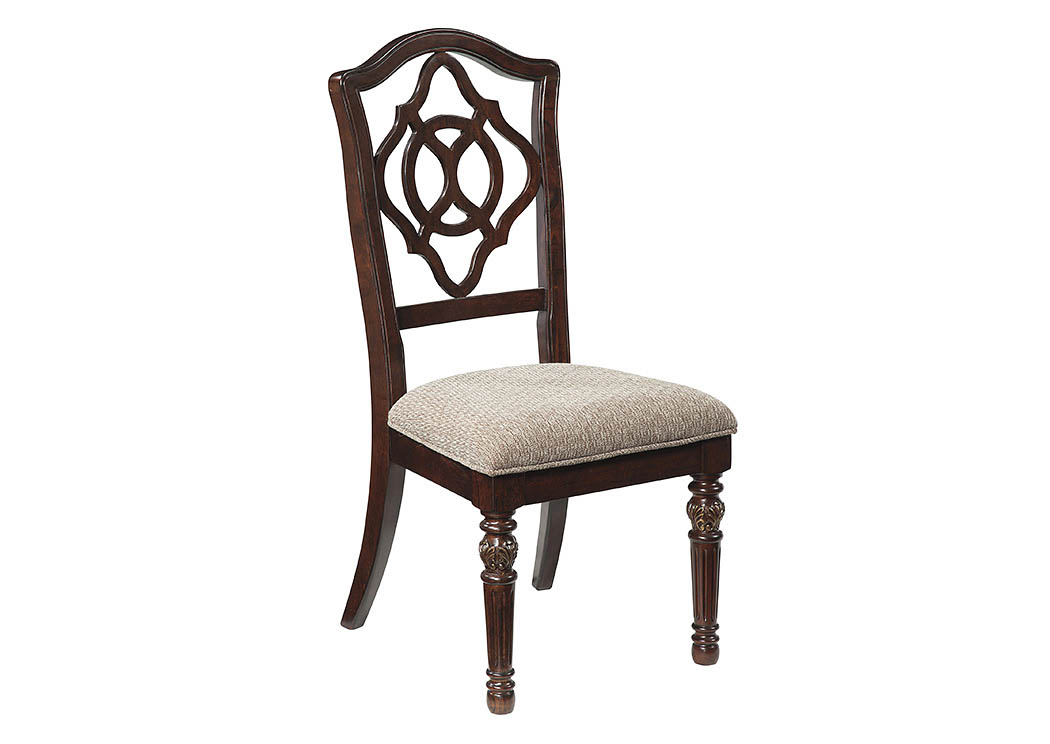 Leahlyn Reddish Brown Dining Upholstered Side Chair (Set of 2),48 Hour Quick Ship