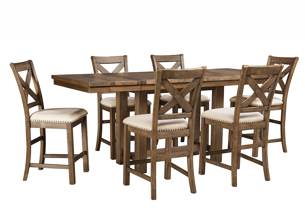 Moriville Gray Rectangular Dining Room Counter Extension Table w/6 Upholstered Barstools,Signature Design by Ashley