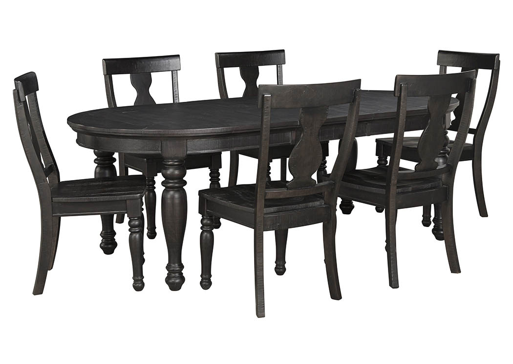 Sharlowe Charcoal Oval Dining Room Extension Table w/6 Side Chairs,Signature Design by Ashley