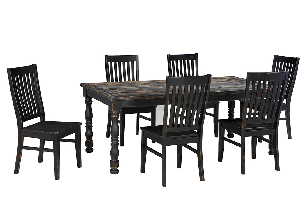 Clayco Bay Black/Gray Rectangular Dining Room Table w/4 Side Chairs,Signature Design By Ashley