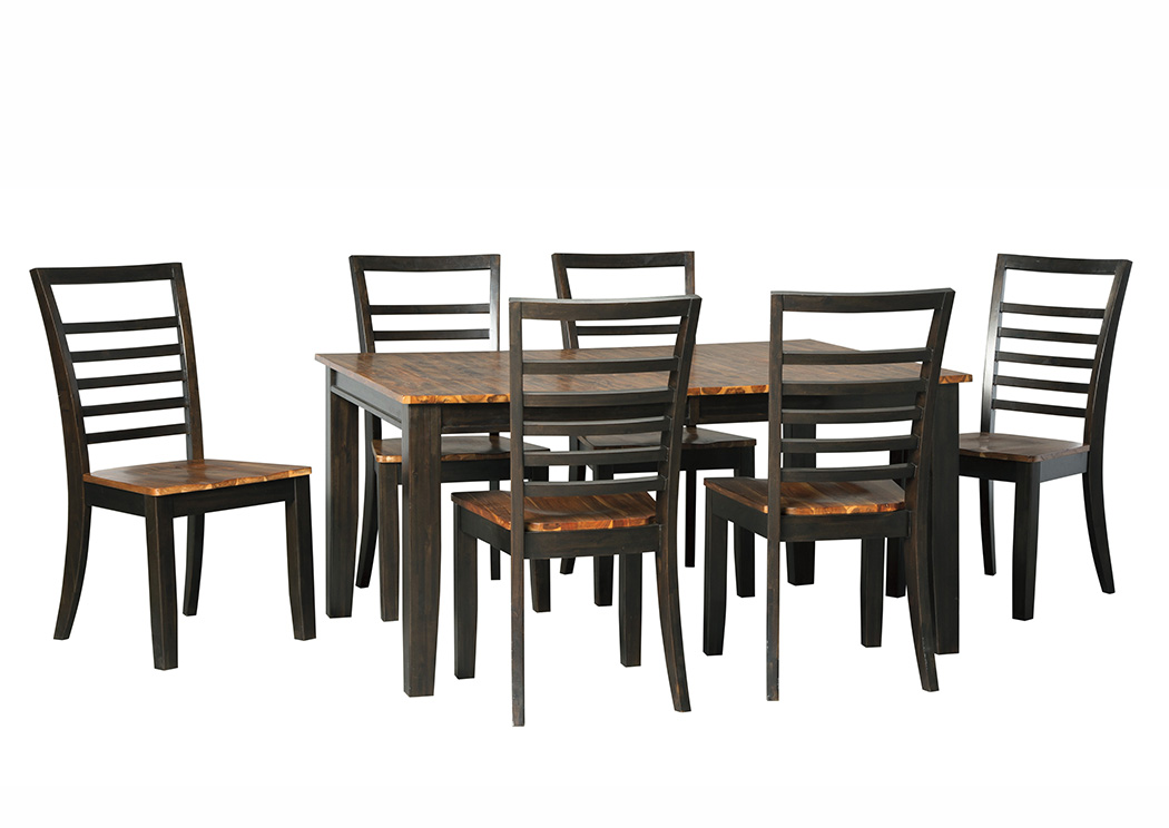 Quinley Two-Tone Brown Rectangular Dining Room Butterfly Extension Table w/6 Side Chairs,Signature Design By Ashley