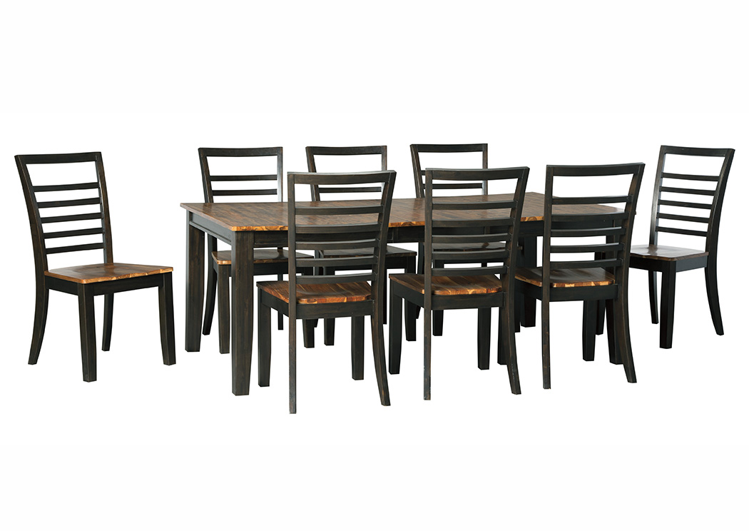 Quinley Two-Tone Brown Rectangular Dining Room Butterfly Extension Table w/8 Side Chairs,Signature Design By Ashley
