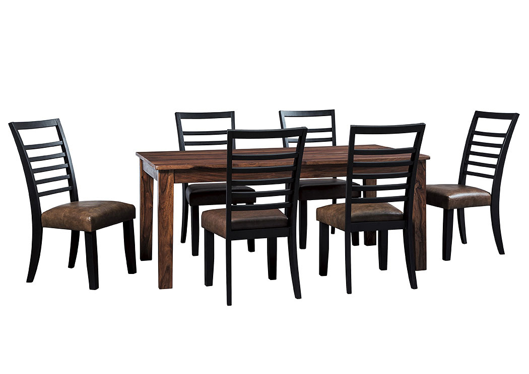 Manishore Brown Rectangular Dining Room Table w/6 Upholstered Side Chairs,Signature Design By Ashley