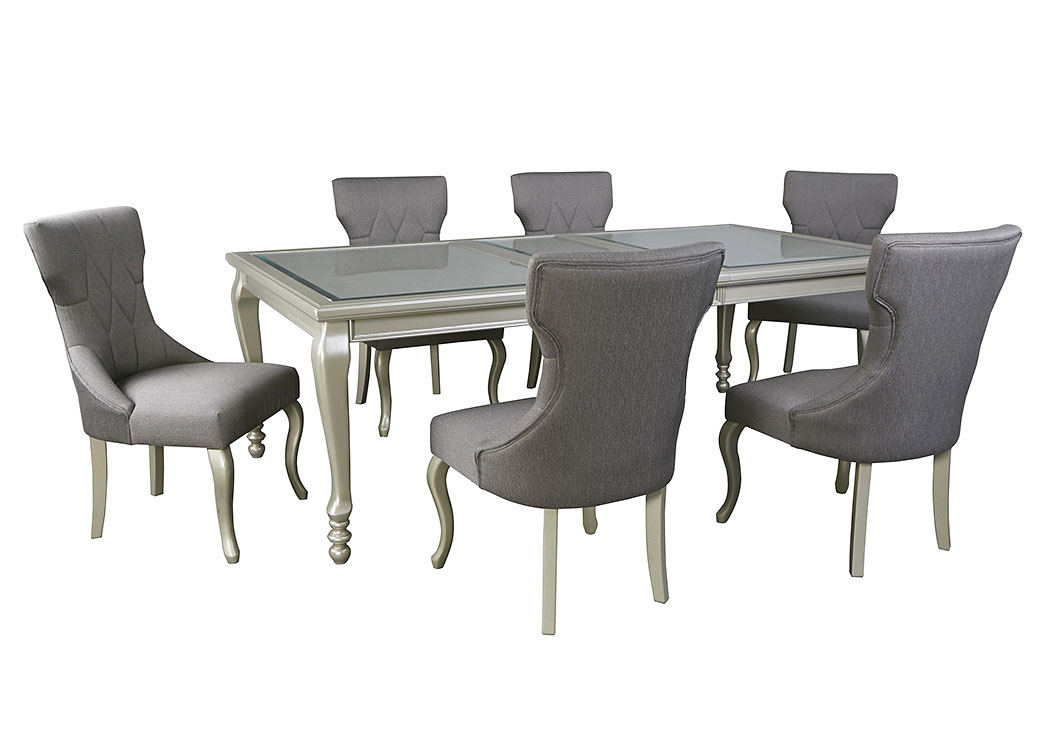 Coralayne Silver Finish Rectangular Dining Room Extension Table w/6 Side Chairs,Signature Design by Ashley