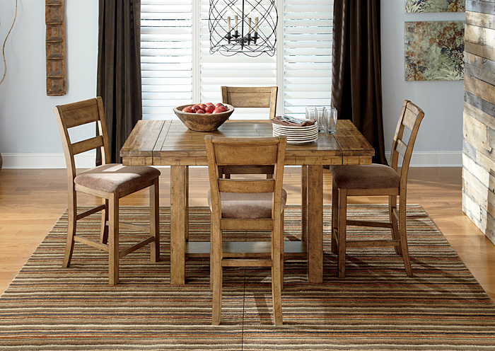 Krinden Counter Height Extension Table w/4 Upholstered Barstools,Signature Design By Ashley