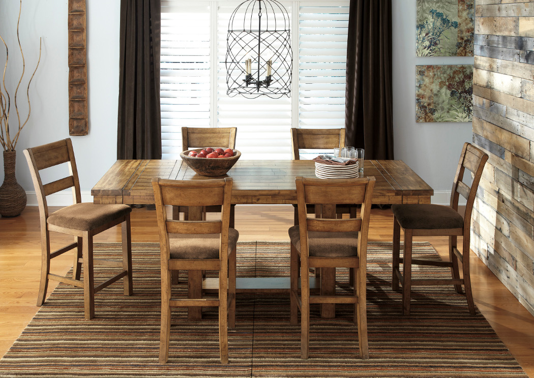 Krinden Counter Height Extension Table W/6 Upholstered Barstools,Signature  Design By Ashley